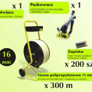 STARTOWY ZESTAW DO PAKOWANIA Paskowacz, Odwijacz, Taśma 16 mm, Zapinki metalowe MEGA OFERTA !-0